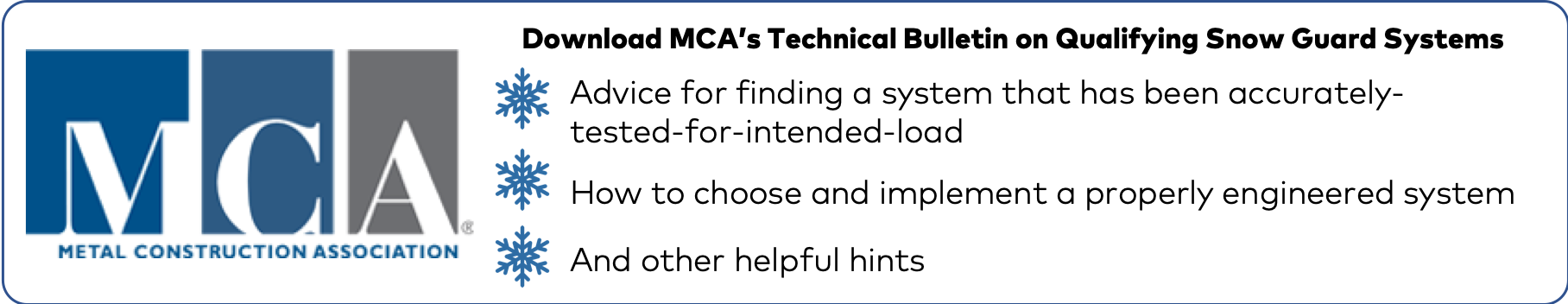 Download MCA's Technical Bulletin on Snow Guards CTA Button - S-5!