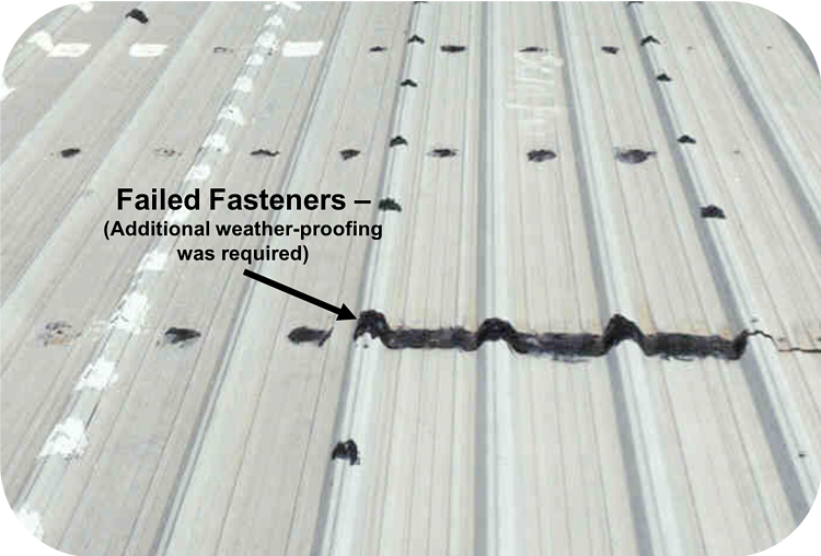 Failed Fasteners on Roof