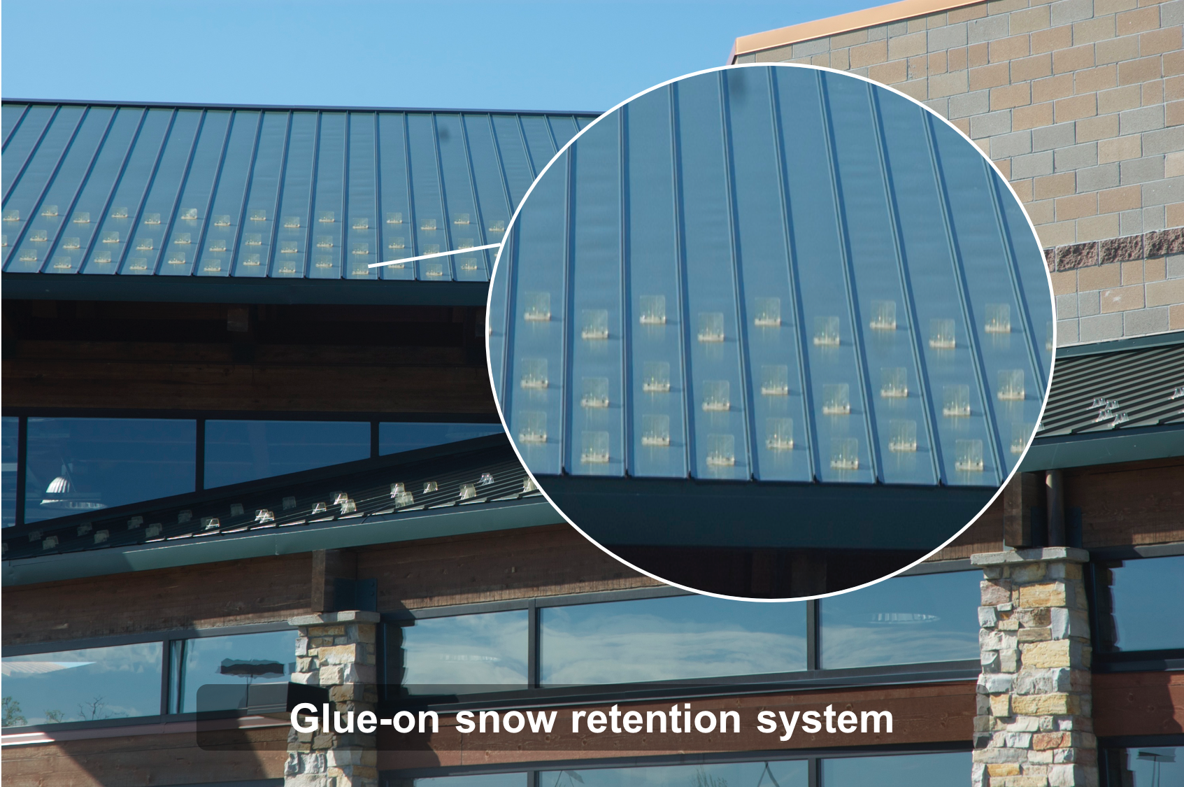 Glue-on snow retention system