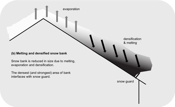 Melting and Densified Snow Bank (b)