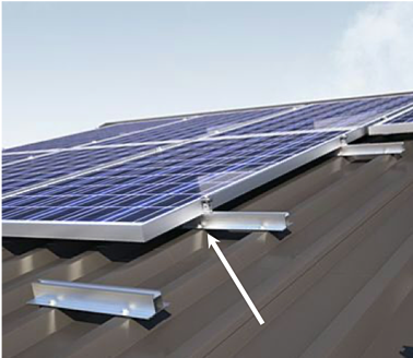 Micro-rails-mounted-exposed-fastened-trapezoidal-metal-roof