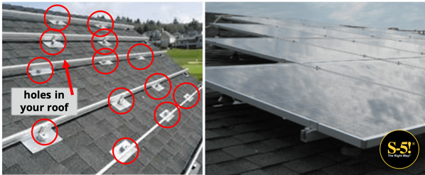 S-5! Mounting Solar on Asphalt Shingles Requires Lots and Lots of Holes-min