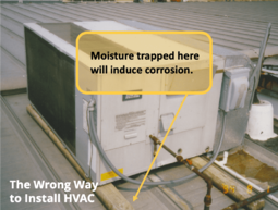 S-5! Wrong way to install HVAC - Image shows how metal roof mounting with wood can encourage moisture to become trapped and induce corrosion-min
