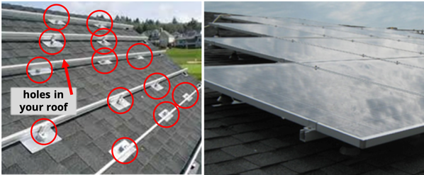 S-5!® - Solar panel installation on an asphalt shingle roof - every attachment point requires a hole into the roof-1