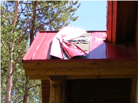 S-5!® Lower roof damage from rooftop avalanche