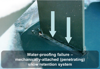 Waterproofing failure - mechanically-attached (penetrating) snow retention system
